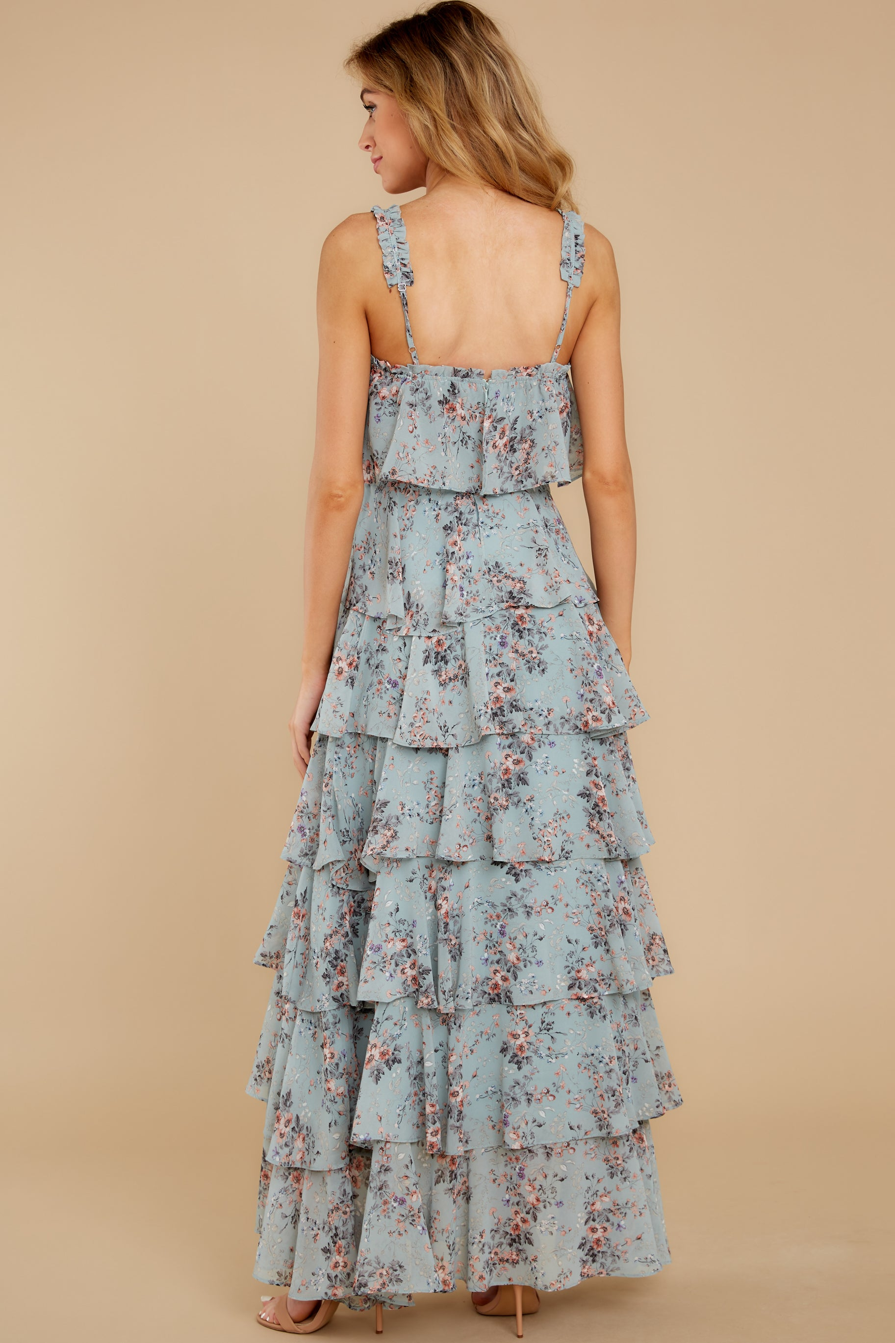 8 The Story's Not Over Light Blue Floral Print Maxi Dress at reddress.com