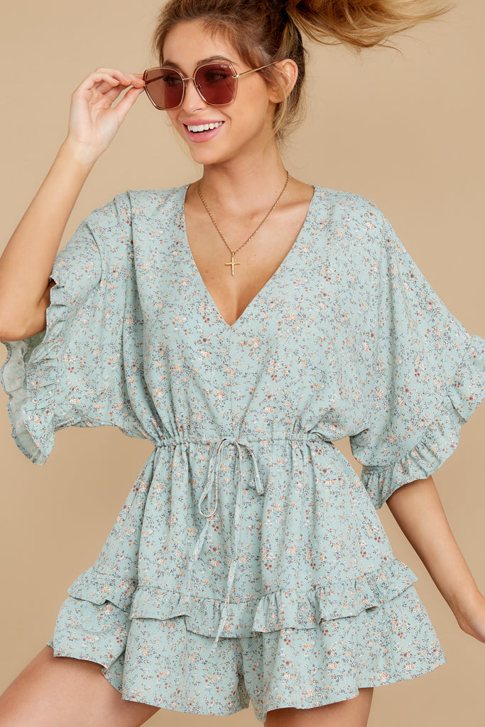 1 Everywhere You Look Aqua Romper at reddress.com