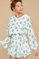 1 All About Spring Ivory Floral Print Romper at reddress.com