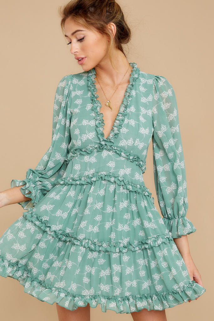 7 Fairy Gardens Kelly Green Floral Print Dress at reddress.com