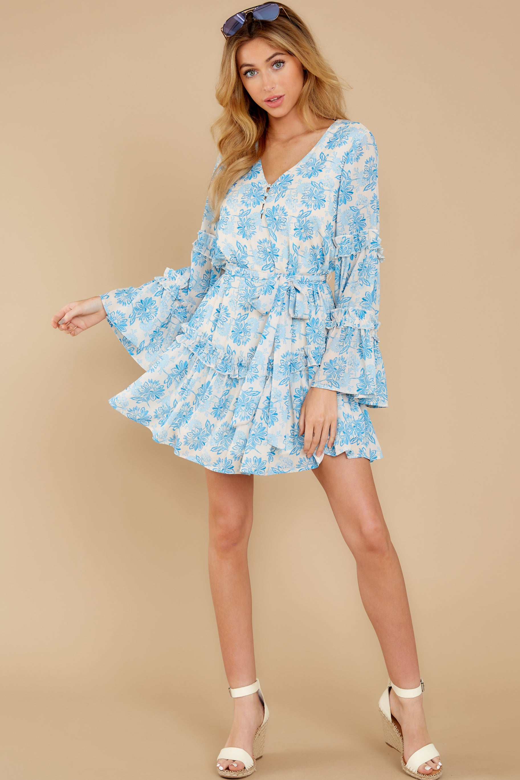 2 Out Of The Light Blue Print Dress at reddress.com