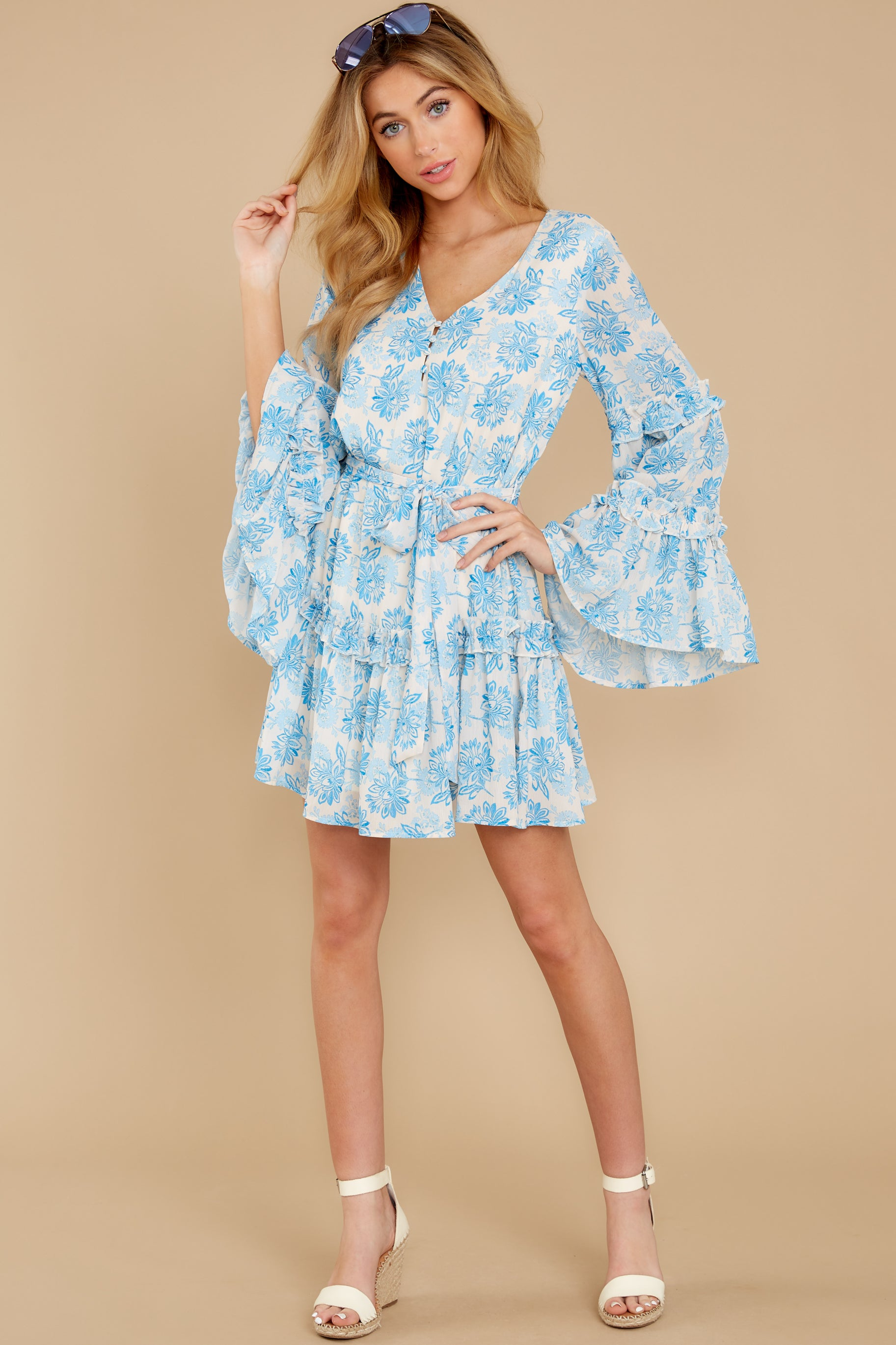 3 Out Of The Light Blue Print Dress at reddress.com