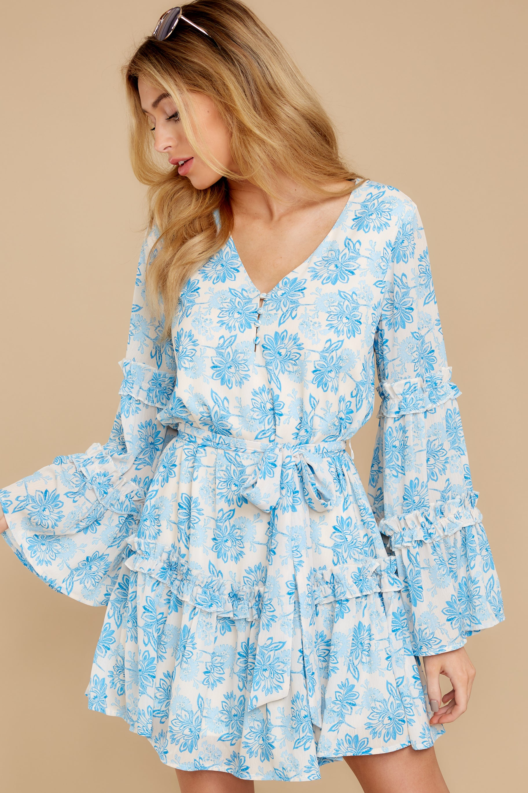 4 Out Of The Light Blue Print Dress at reddress.com