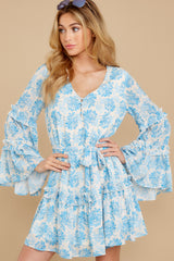 5 Out Of The Light Blue Print Dress at reddress.com