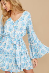1 Out Of The Light Blue Print Dress at reddress.com