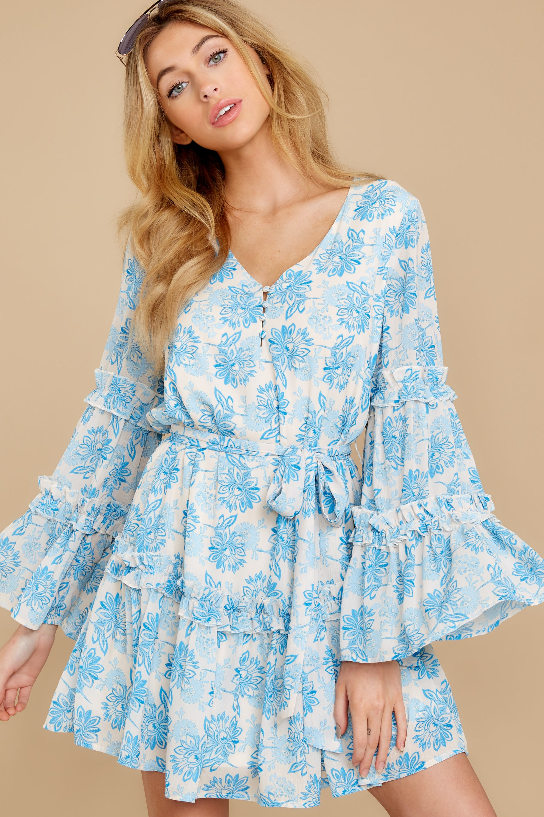 6 Out Of The Light Blue Print Dress at reddress.com