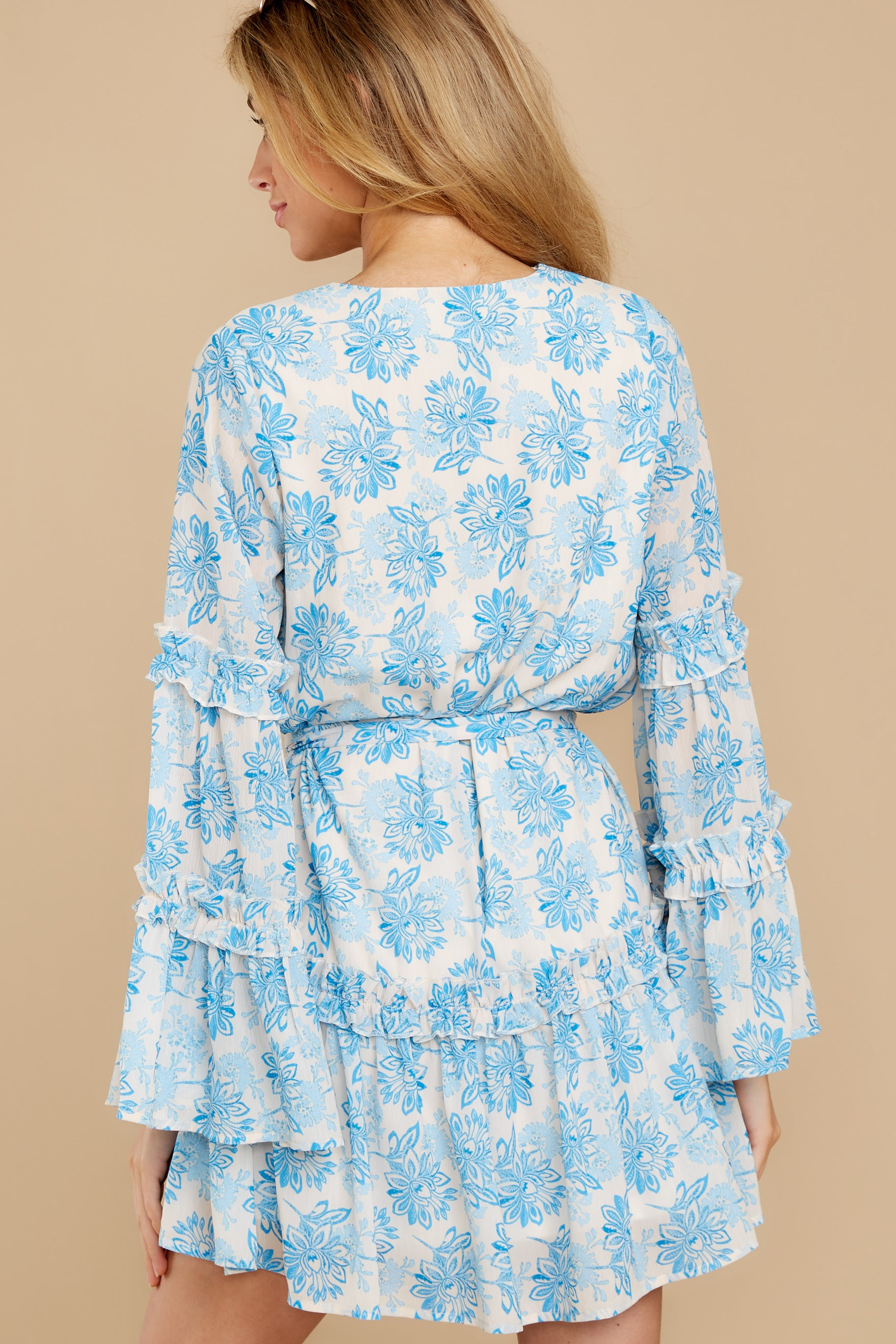 7 Out Of The Light Blue Print Dress at reddress.com