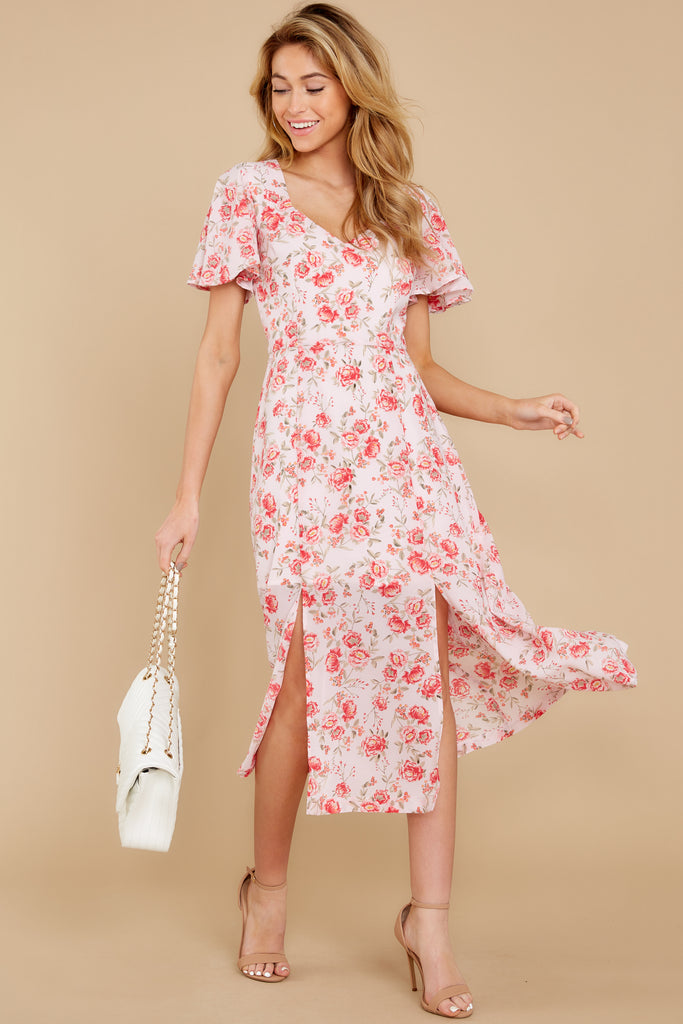 1 Work Of Art White Floral Print Maxi Dress at reddress.com