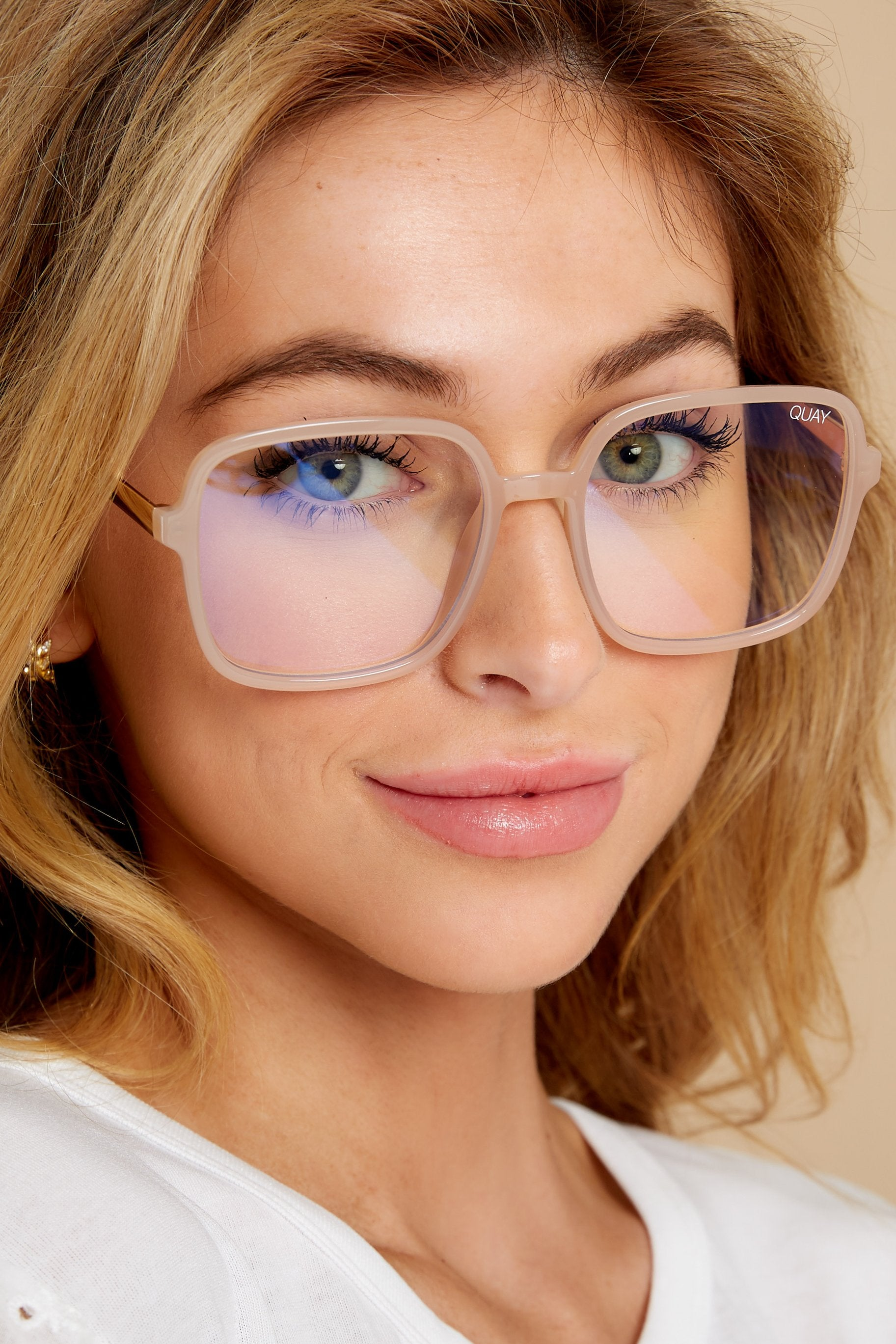 1 9 to 5 Peach Clear Blue Light Glasses at reddress.com