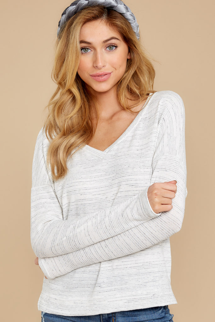 3 Wind Down Heather Grey Sweater at reddressboutique.com