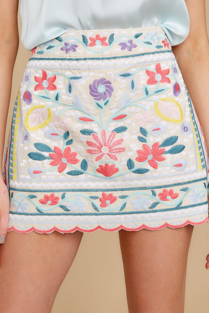In A Twitter White Embroidered Skirt