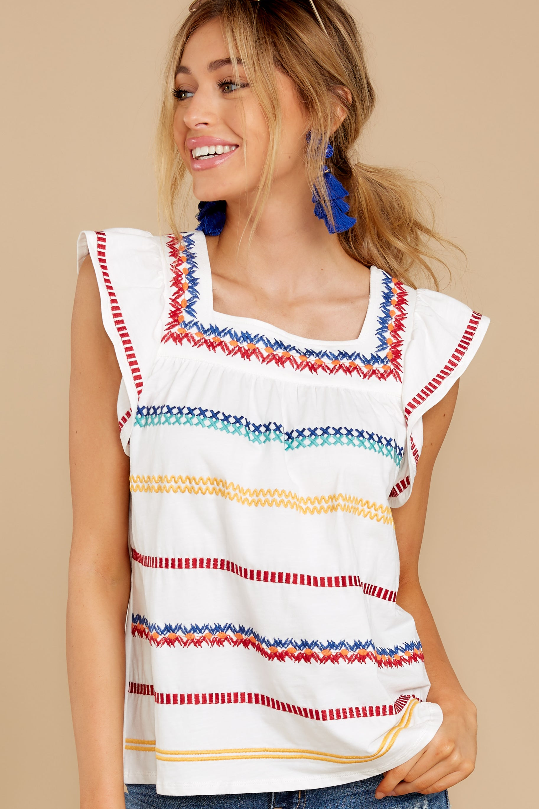 Women's 70s Shirts, Blouses, Hippie Tops THML Going With You White Multi Top $56.00 AT vintagedancer.com