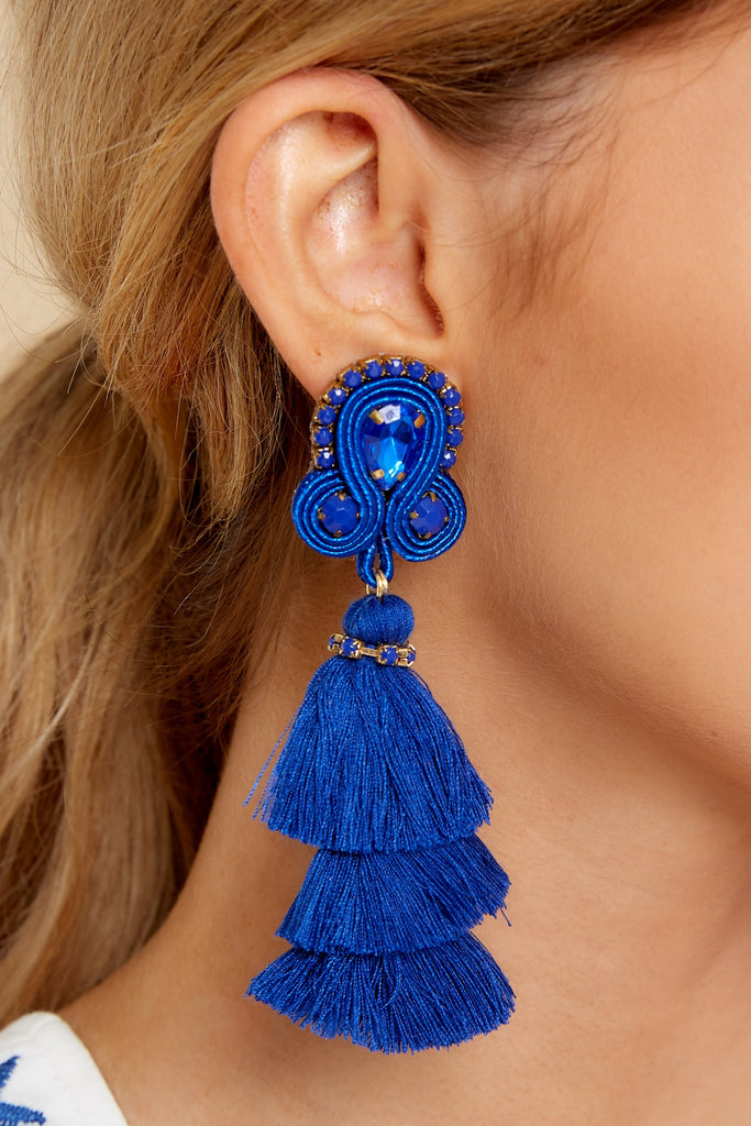 1 Party Of Three Blue Beaded Earrings at reddress.com