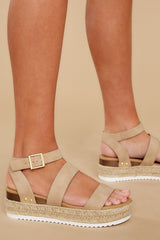 5 Going For Now Taupe Flatform Sandals at reddress.com