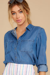 12 Wander Free Chambray Button Up Top at reddress.com