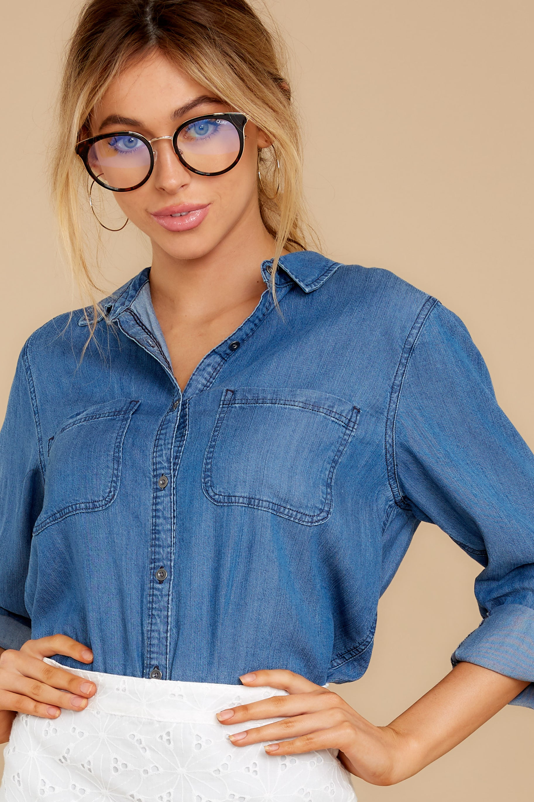 5 Wander Free Chambray Button Up Top at reddress.com