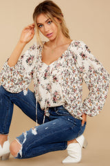 5 Don't Waste Any Time Natural Floral Print Top at reddress.com