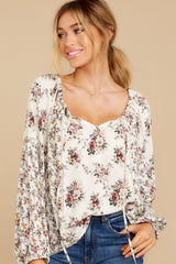 1 Don't Waste Any Time Natural Floral Print Top at reddress.com