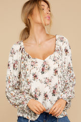 6 Don't Waste Any Time Natural Floral Print Top at reddress.com