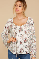 8 Don't Waste Any Time Natural Floral Print Top at reddress.com