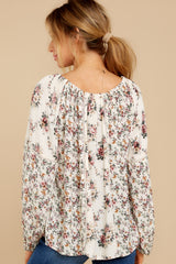 9 Don't Waste Any Time Natural Floral Print Top at reddress.com