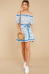 2 Happy About It Blue Floral Print Off The Shoulder Dress at reddress.com