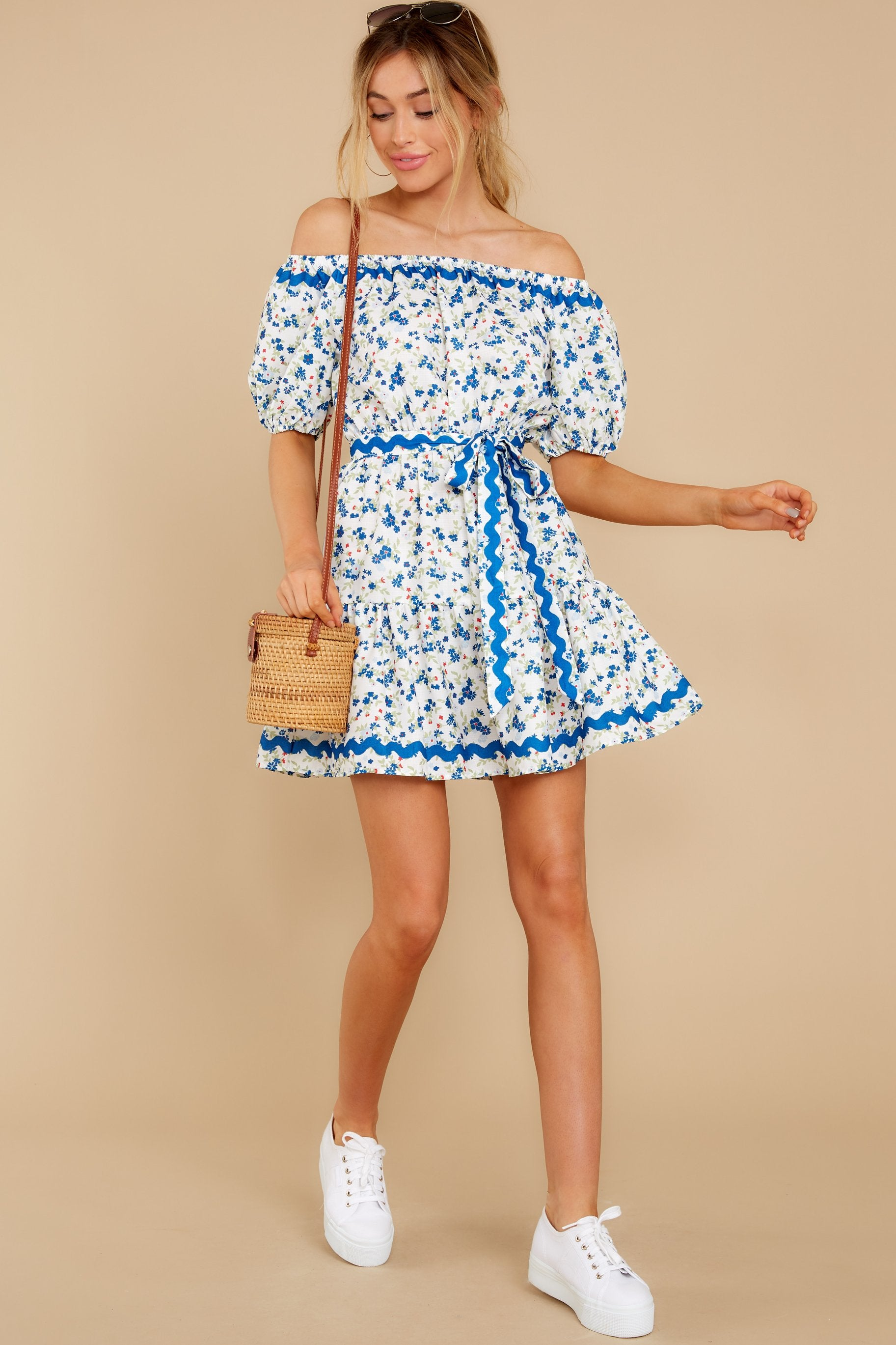 3 Happy About It Blue Floral Print Off The Shoulder Dress at reddress.com