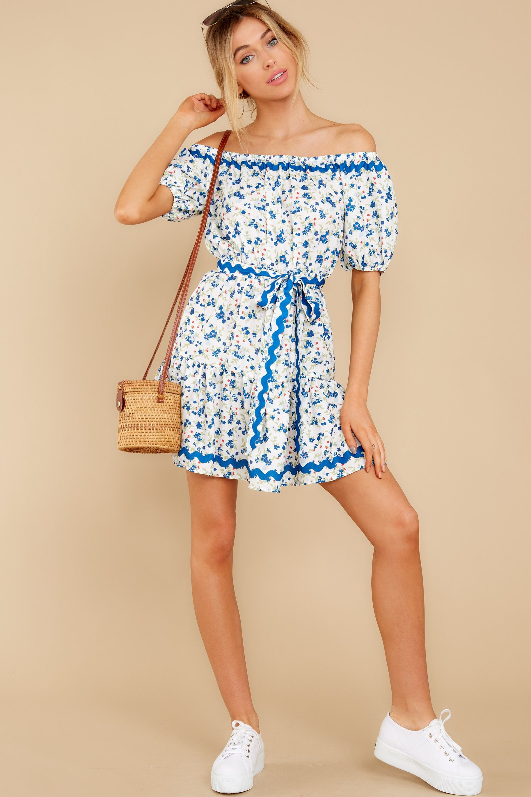 4 Happy About It Blue Floral Print Off The Shoulder Dress at reddress.com