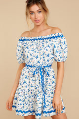 6 Happy About It Blue Floral Print Off The Shoulder Dress at reddress.com