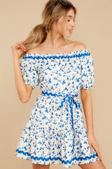7 Happy About It Blue Floral Print Off The Shoulder Dress at reddress.com