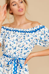 1 Happy About It Blue Floral Print Off The Shoulder Dress at reddress.com