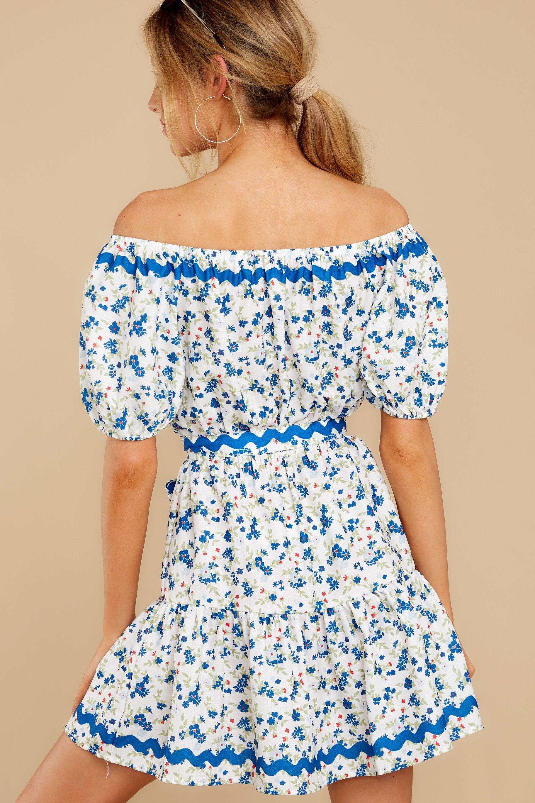 8 Happy About It Blue Floral Print Off The Shoulder Dress at reddress.com