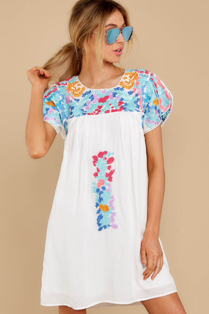 1 Lady Birds White Embroidered Dress at reddress.com