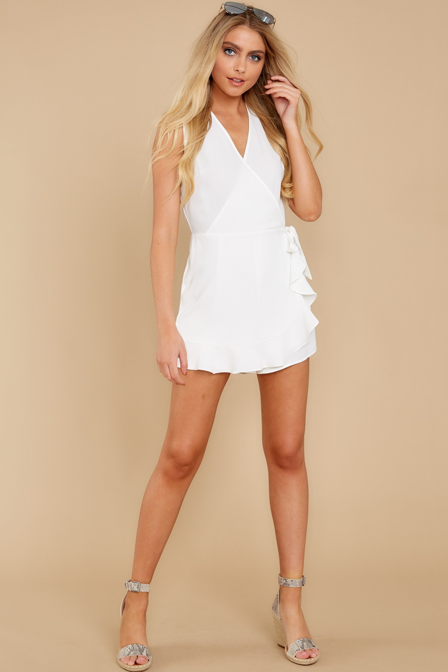 2 Worth Your While White Romper at reddress.com