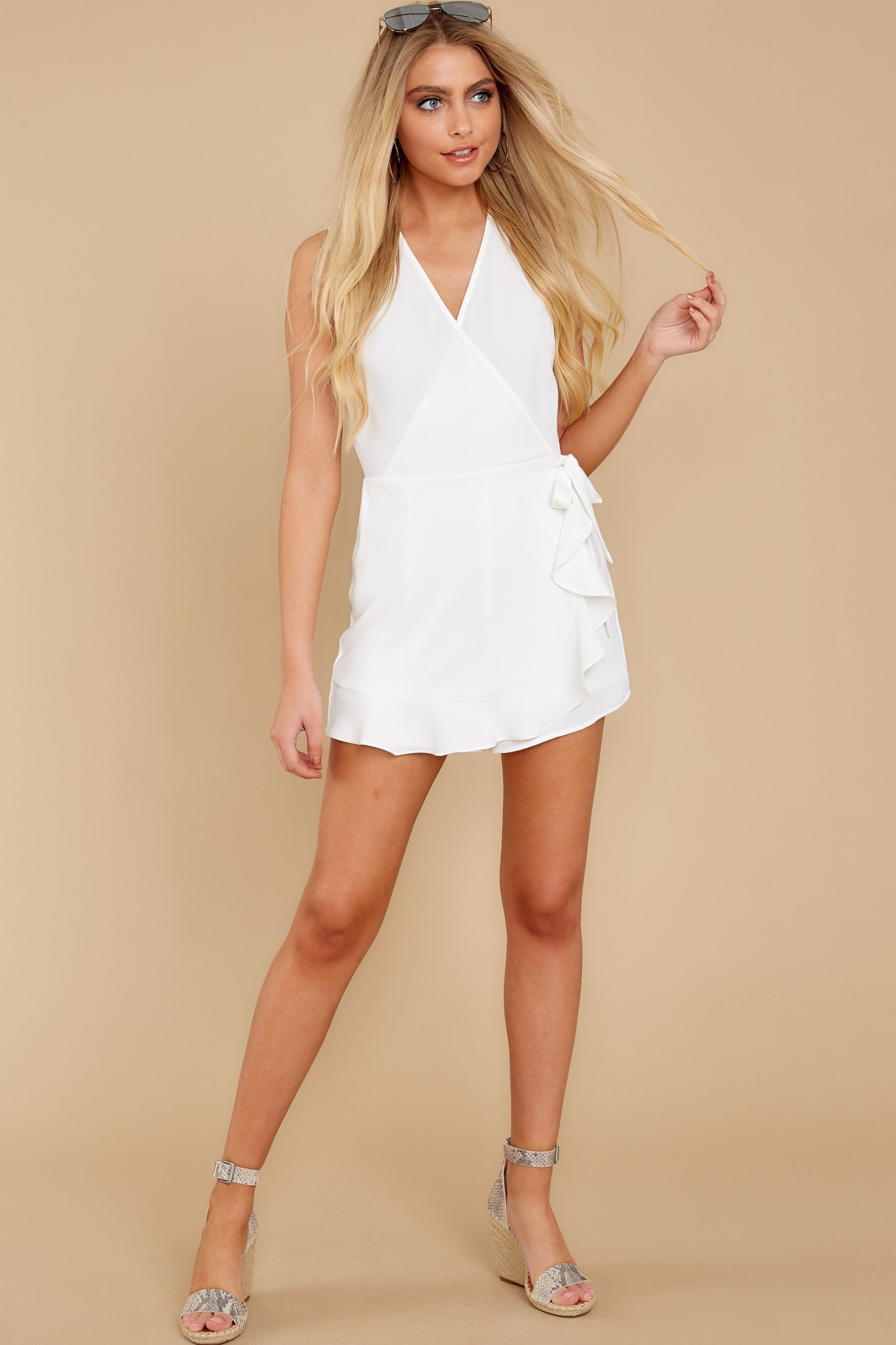 3 Worth Your While White Romper at reddress.com