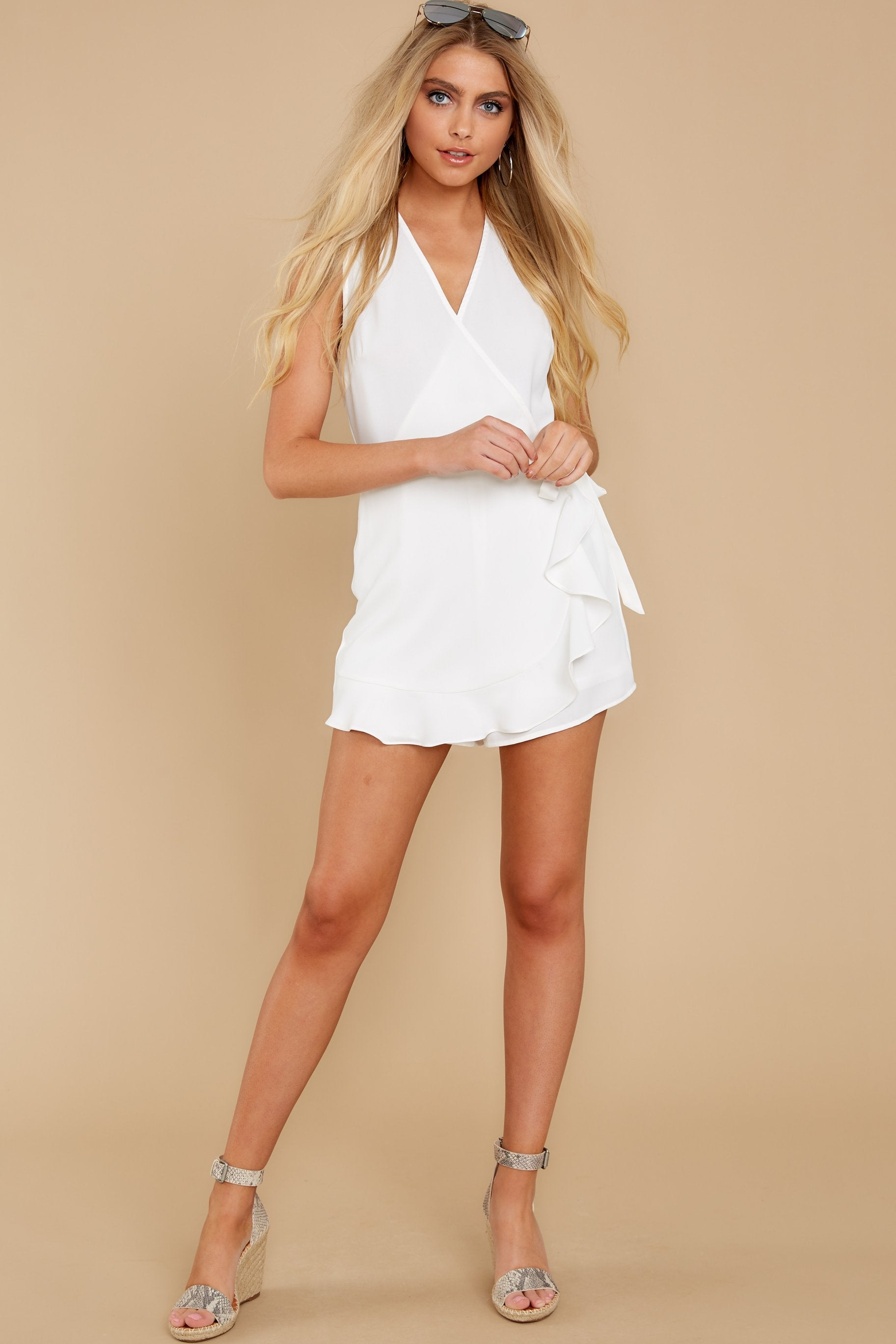4 Worth Your While White Romper at reddress.com