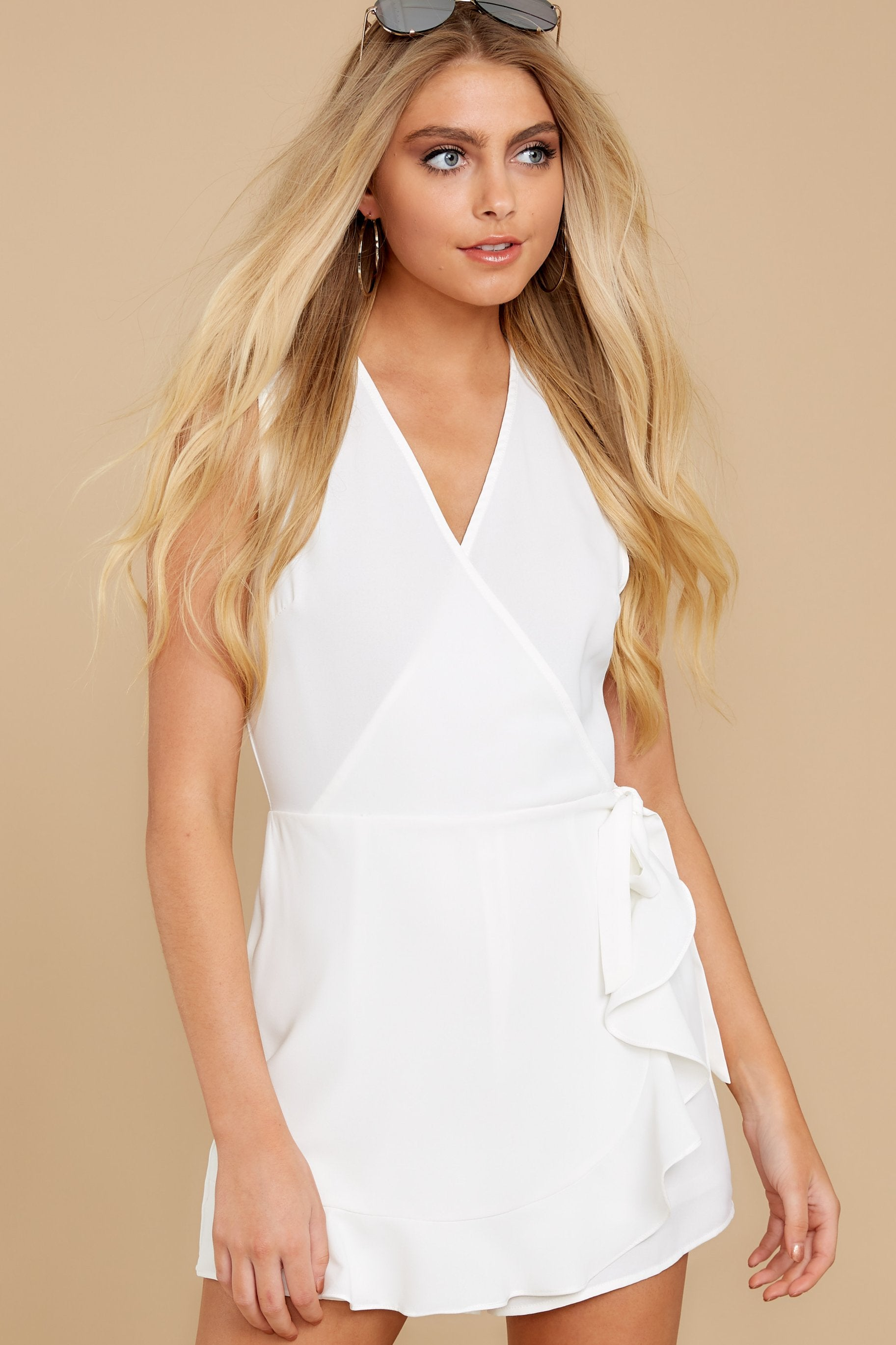 5 Worth Your While White Romper at reddress.com