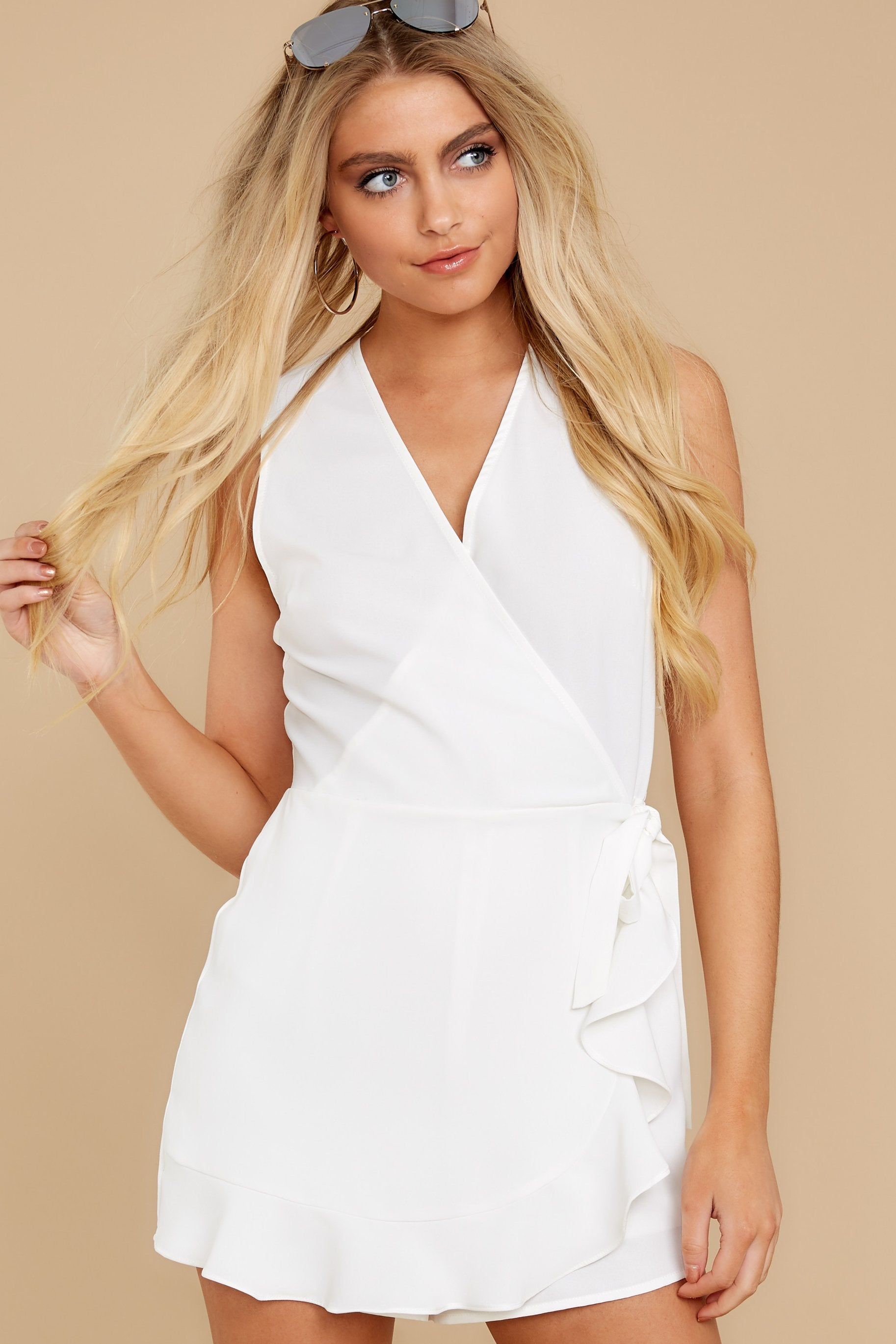 6 Worth Your While White Romper at reddress.com