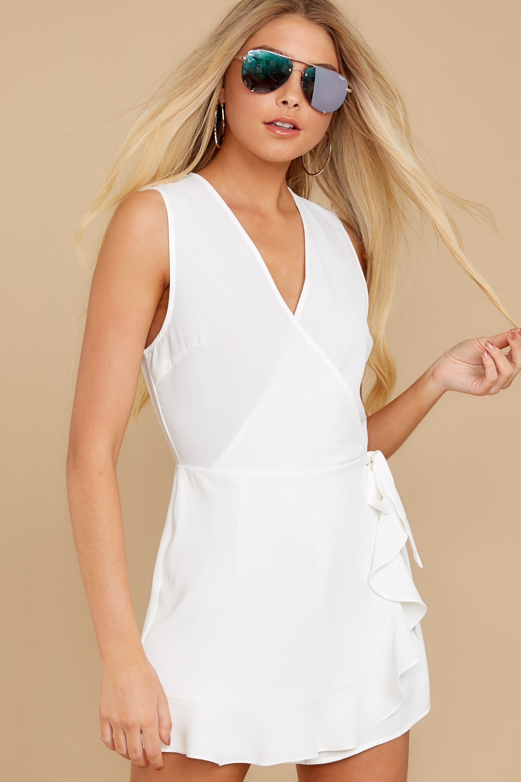 7 Worth Your While White Romper at reddress.com