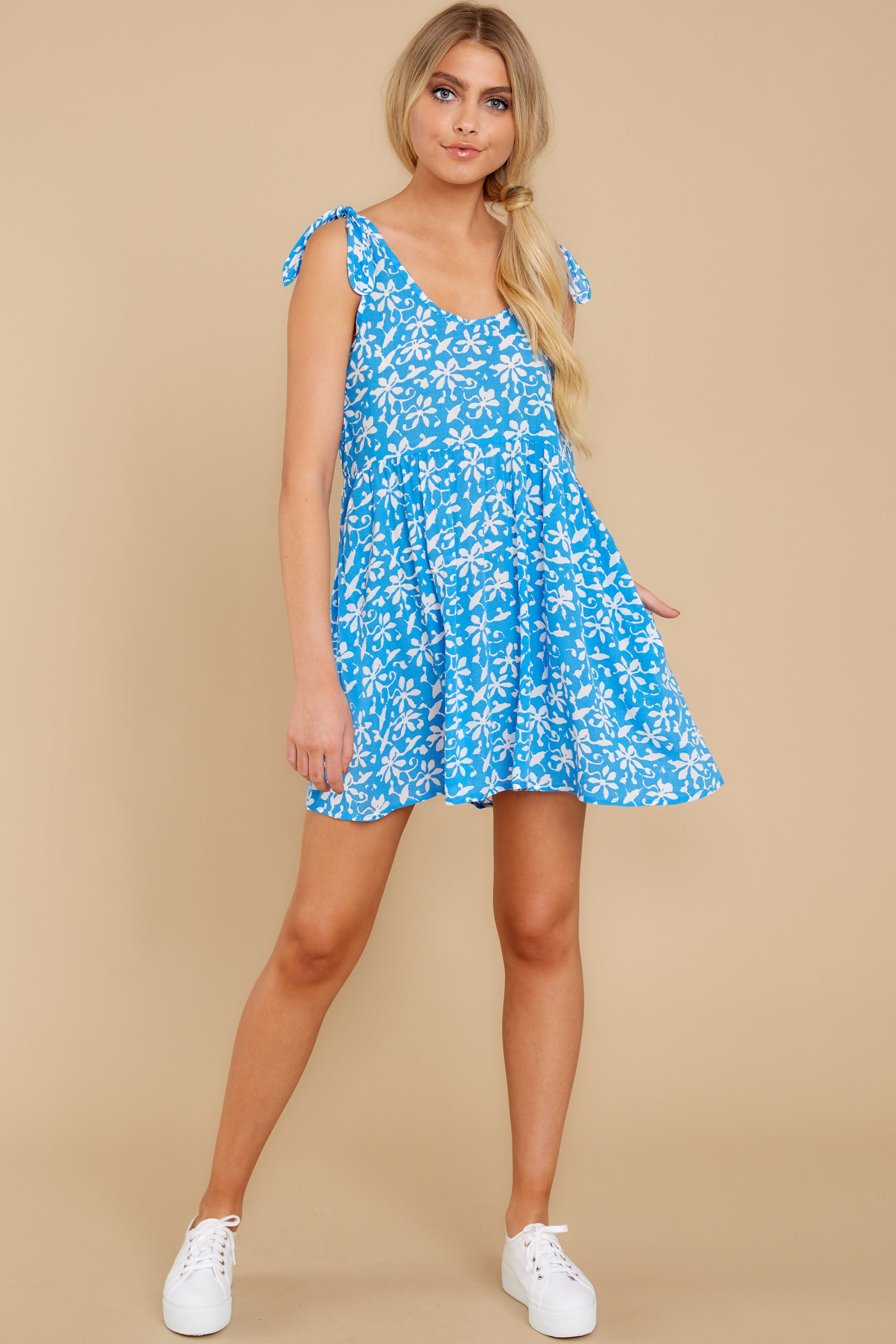 4 Girl On Fire Blue Floral Print Dress at reddress.com