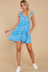 5 Girl On Fire Blue Floral Print Dress at reddress.com