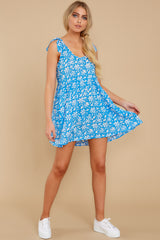 3 Girl On Fire Blue Floral Print Dress at reddress.com