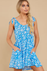 1 Girl On Fire Blue Floral Print Dress at reddress.com
