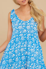 2 Girl On Fire Blue Floral Print Dress at reddress.com