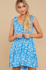 6 Girl On Fire Blue Floral Print Dress at reddress.com