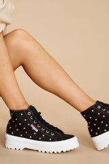 2 2341 Alpina Black And Gold Studded Platform High Top Sneakers at reddress.com