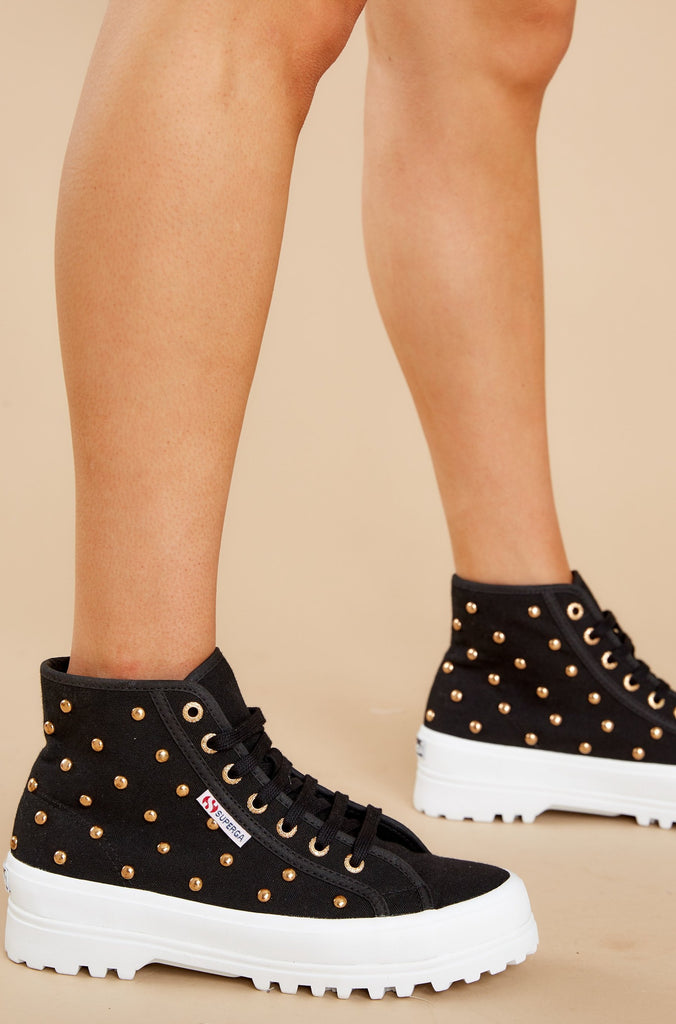 1 2341 Alpina Black And Gold Studded Platform High Top Sneakers at reddress.com