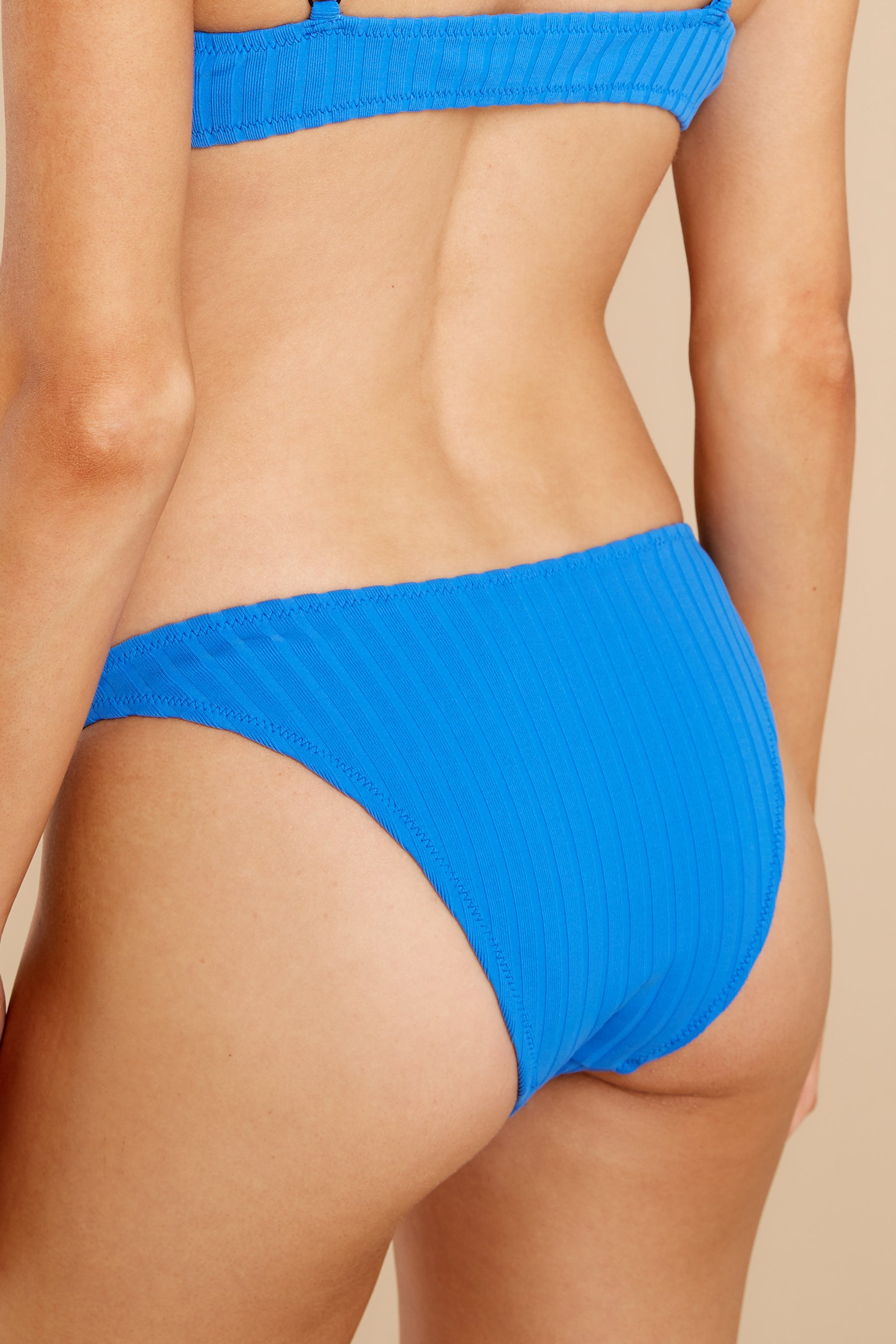 2 Elsa Laguna Blue Solid Rib Bikini Bottoms at reddress.com