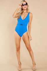 2 Michelle Belt Laguna Blue Solid Rib One Piece Swimsuit at reddress.com