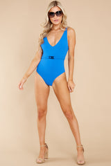 4 Michelle Belt Laguna Blue Solid Rib One Piece Swimsuit at reddress.com